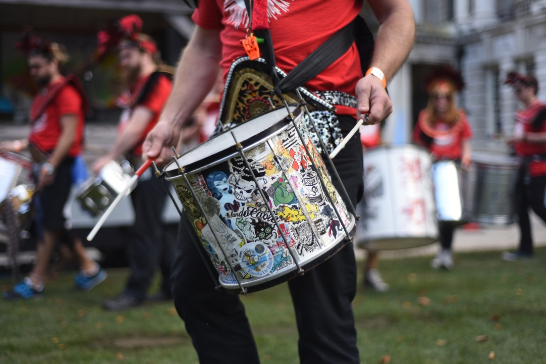 Close up of a drum.