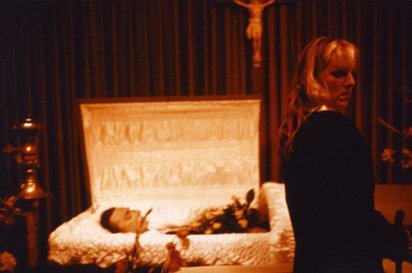 Cookie at Vittorio's casket, New York City,